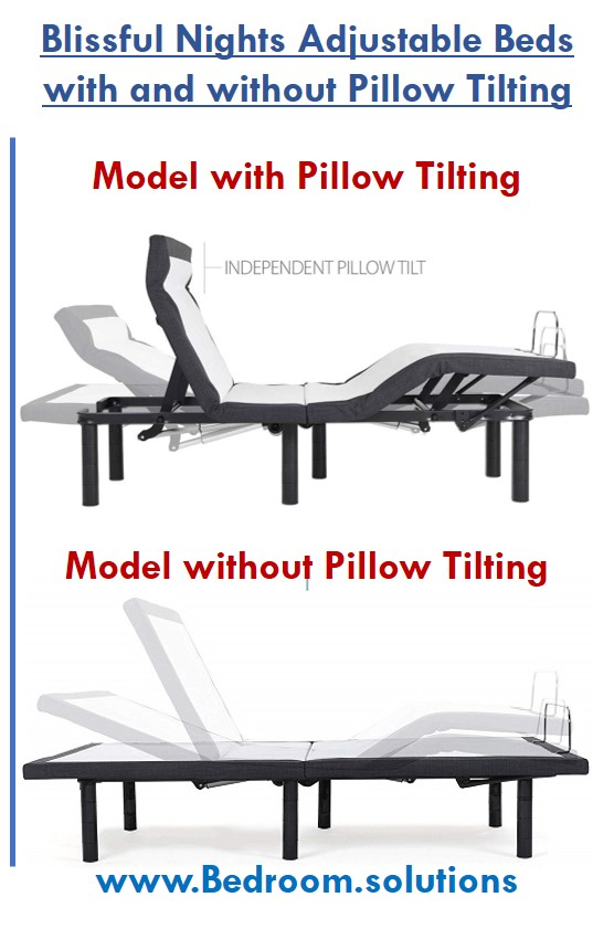 Blissful Nights Adjustable Bed pillow tilting comparison